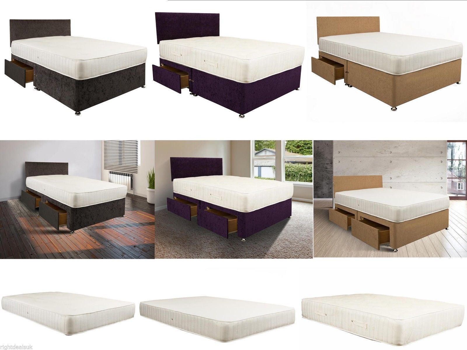 divan bed with drawers storage headboard quilted mattress opt 3ft 4ft 4ft6 5ft ebay