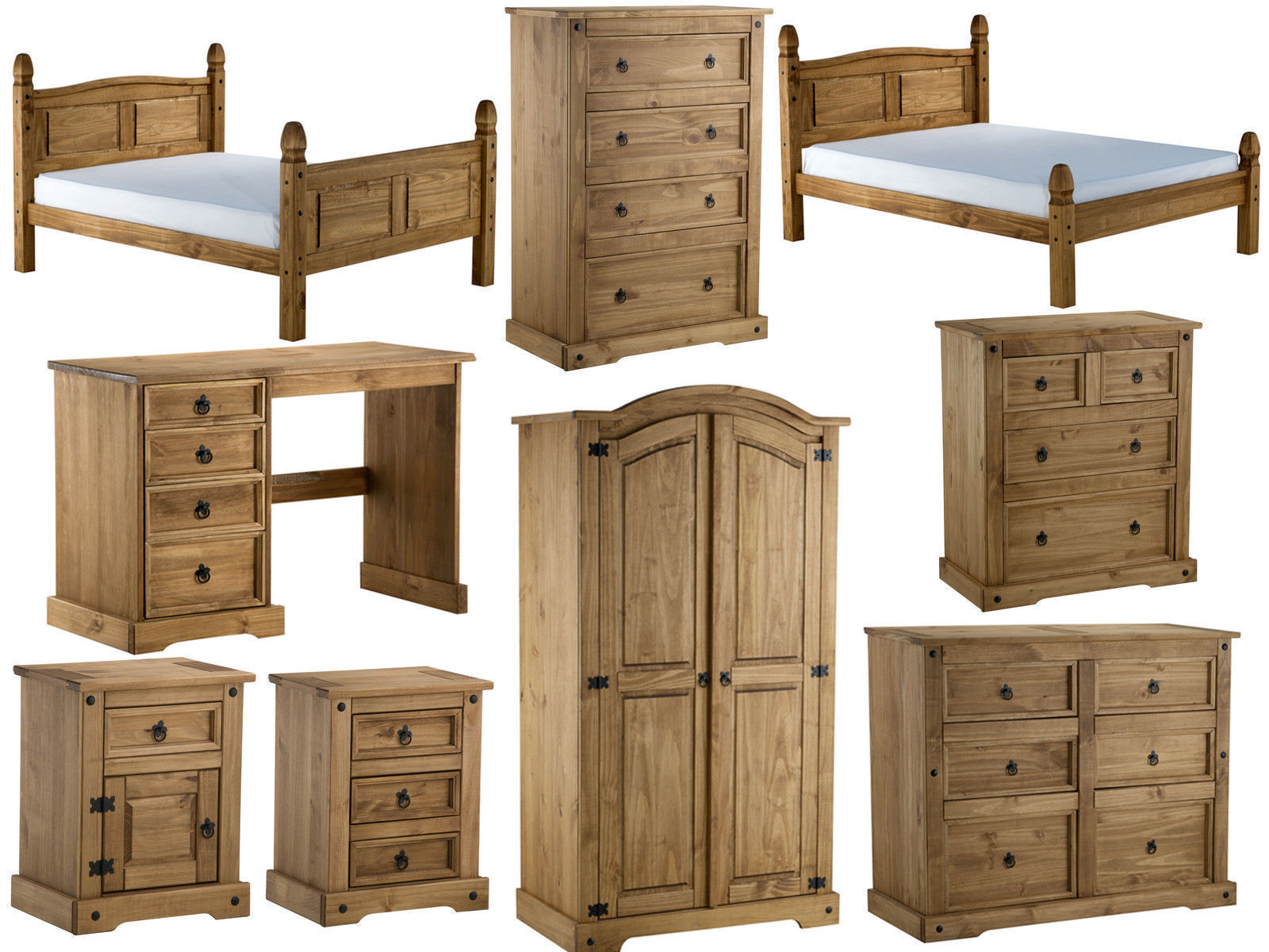 Birlea corona pine bedroom furniture distressed waxed for Pine bedroom furniture