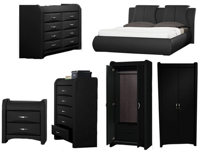 Details About Azure Black Faux Leather Bedroom Furniture Collection