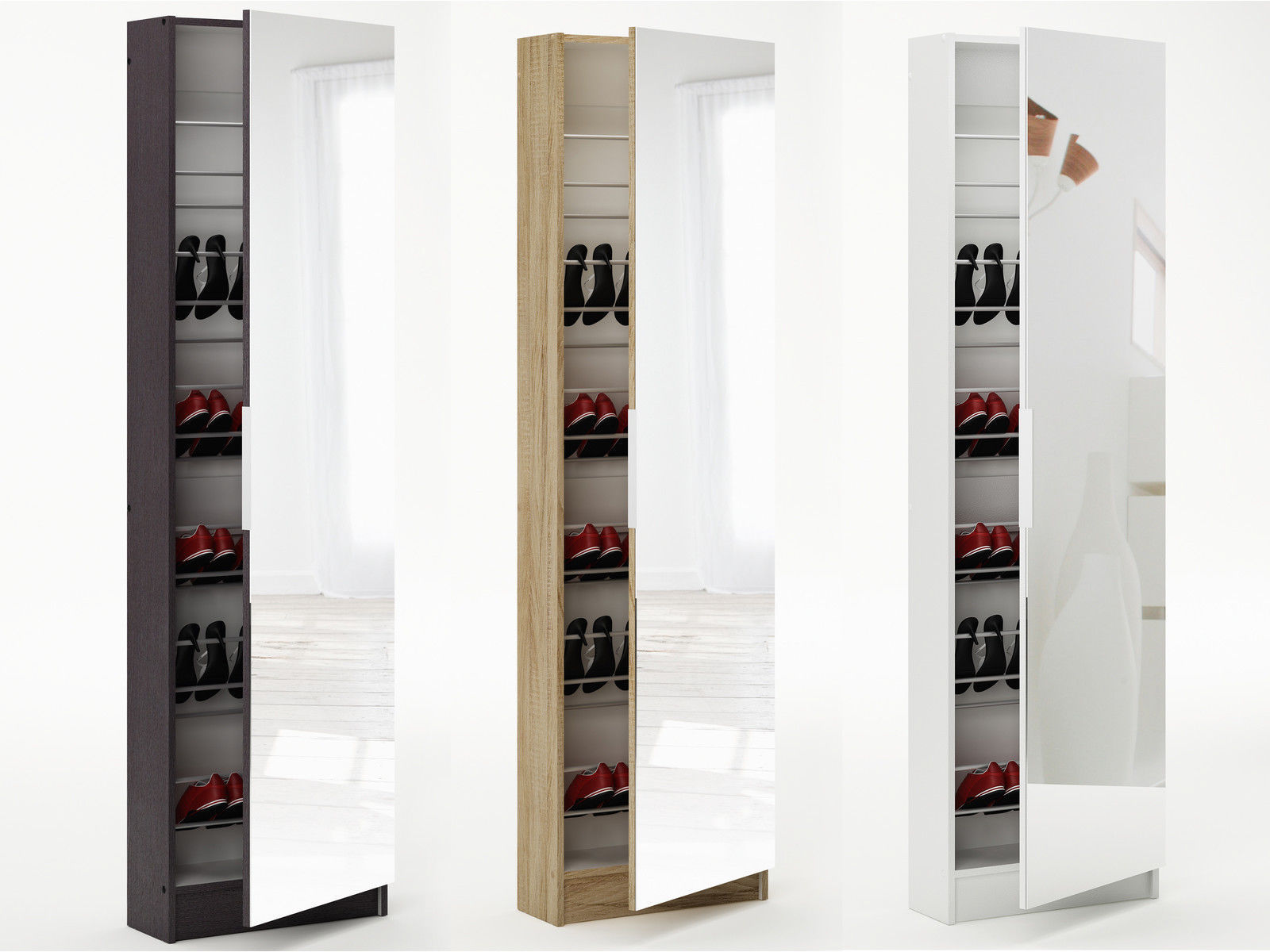 6ft Mirrored Shoe Cabinet Storage 180cm 6 Tier Full