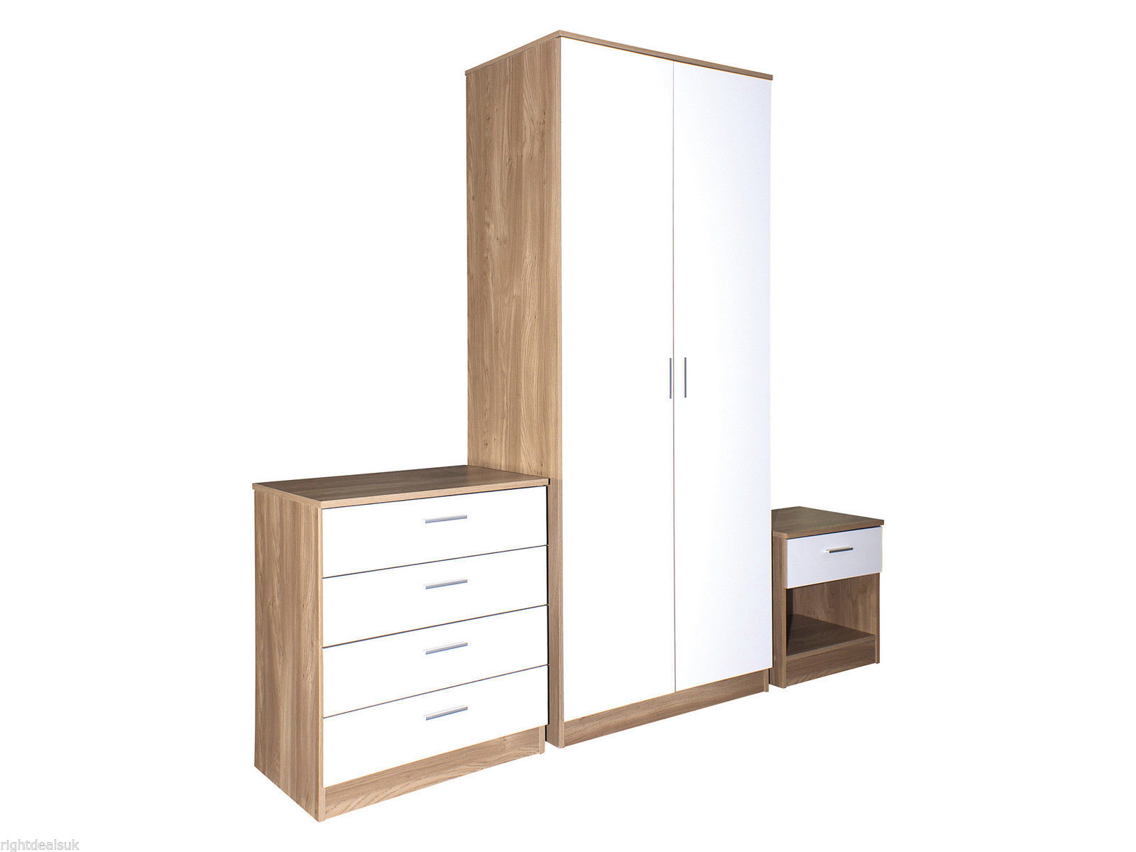 Caspian white gloss oak bedroom 3 piece furniture package for Furniture 3 room package