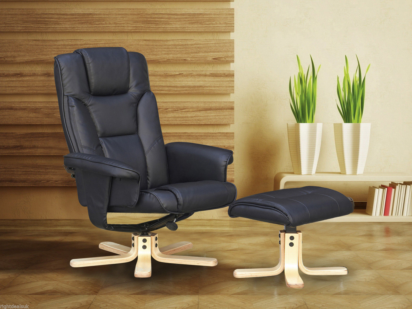 Black Faux Leather Chair: Boston Swivel Recliner Chair & Footstool