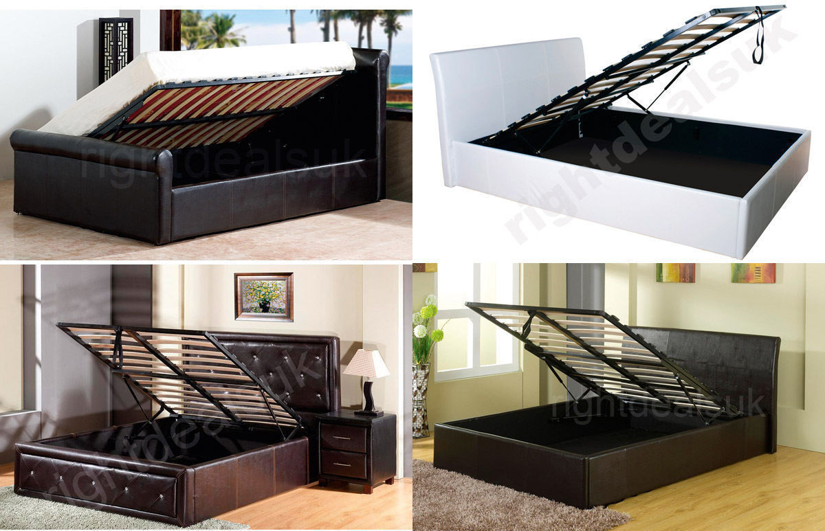 faux leather ottoman storage gas lift bed 3ft single 4ft6. Black Bedroom Furniture Sets. Home Design Ideas