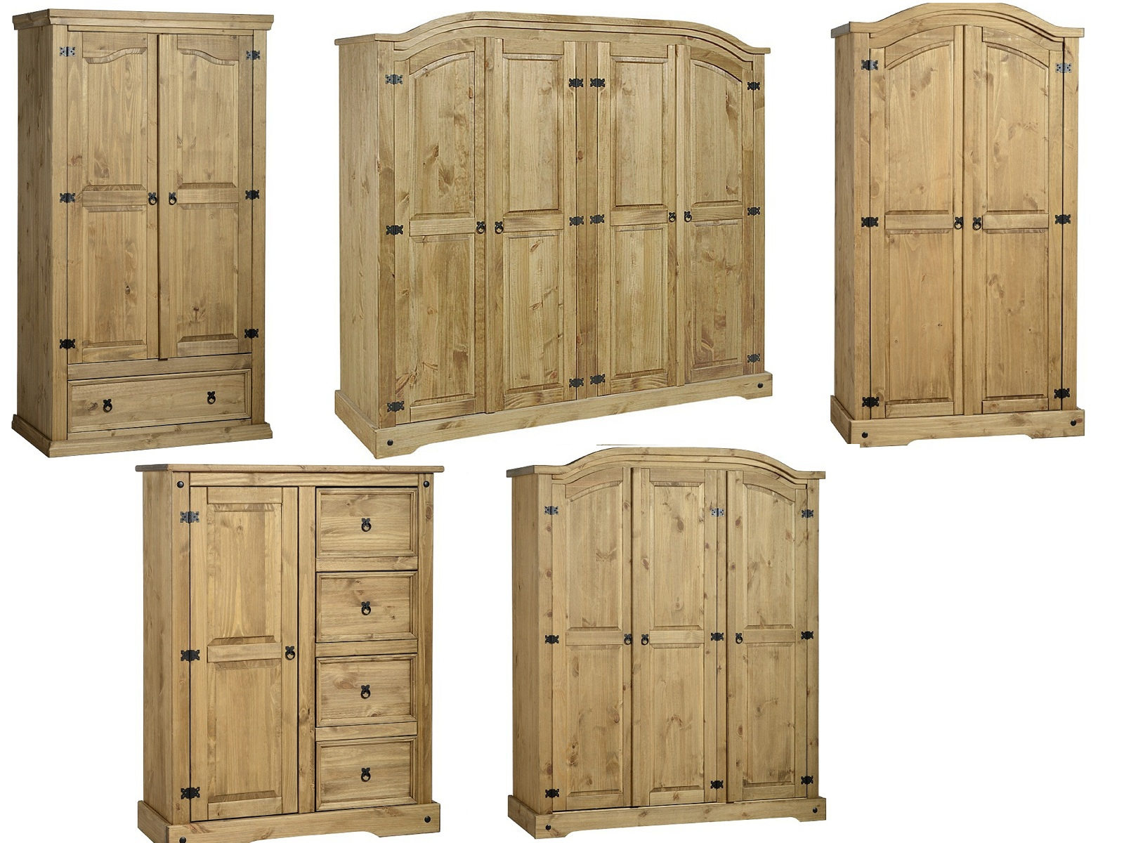 corona wardrobes 2 3 4 door solid mexican pine. Black Bedroom Furniture Sets. Home Design Ideas