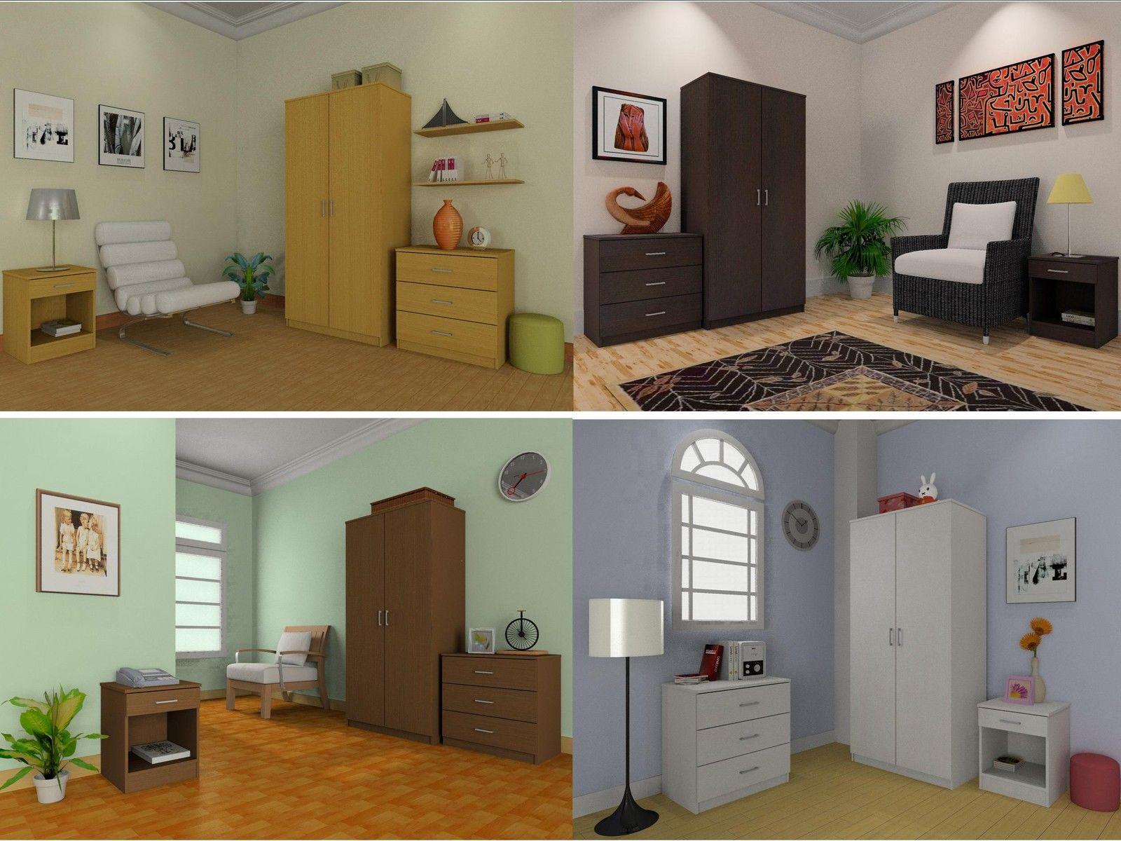 Bedroom furniture sets wardrobe chest bedside beech - Walnut bedroom furniture sets uk ...