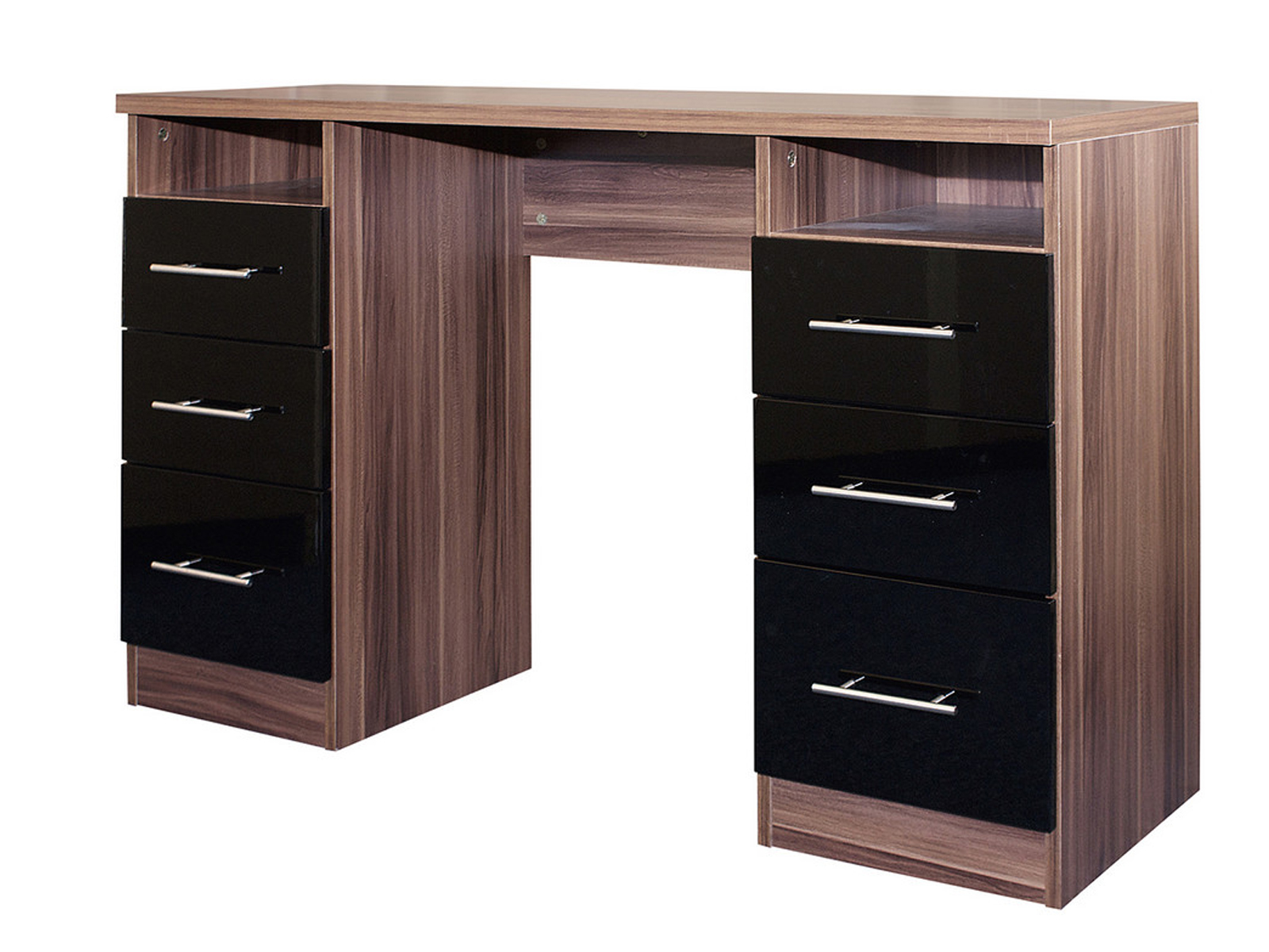 Modular Dressing Table 6 Drawers High Gloss Black Walnut Stunning Range