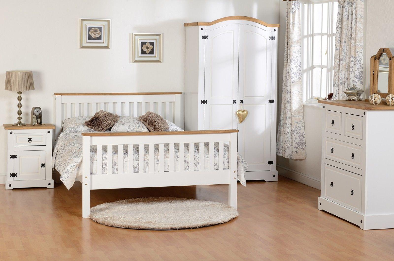 Seconique White Corona Farm House Bedroom Furniture White Waxed