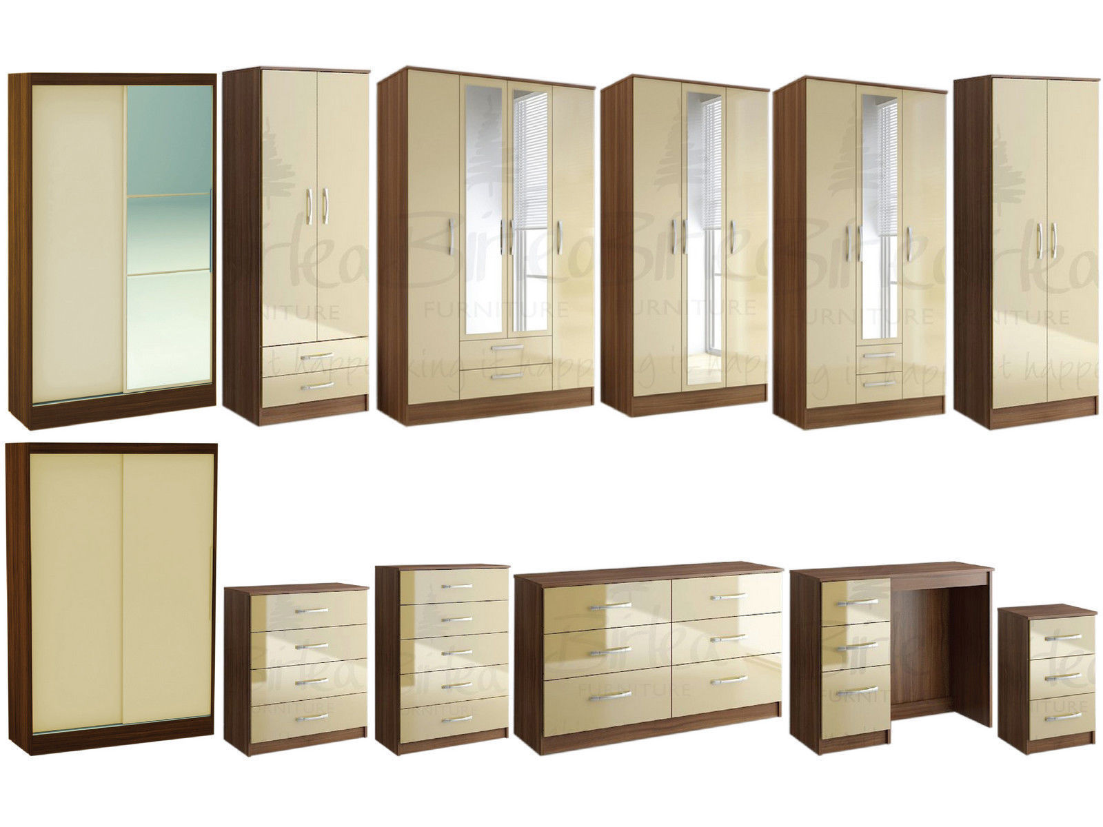 Bedroom furniture wardrobes - Lynx Walnut Cream Gloss Bedroom Furniture Wardrobe Chest By Birlea Large Sizes