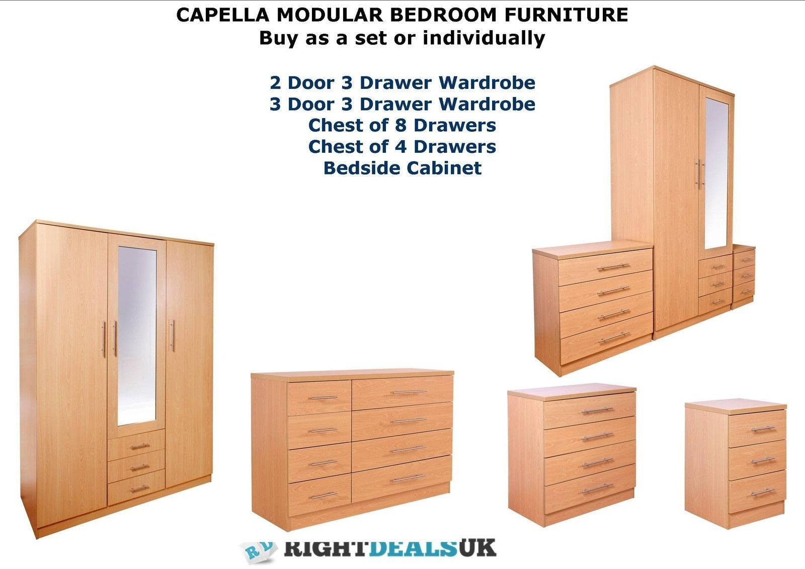 Capella Beech Large Modular Bedroom Furniture Sets Wardrobes Drawers Bedside Ebay