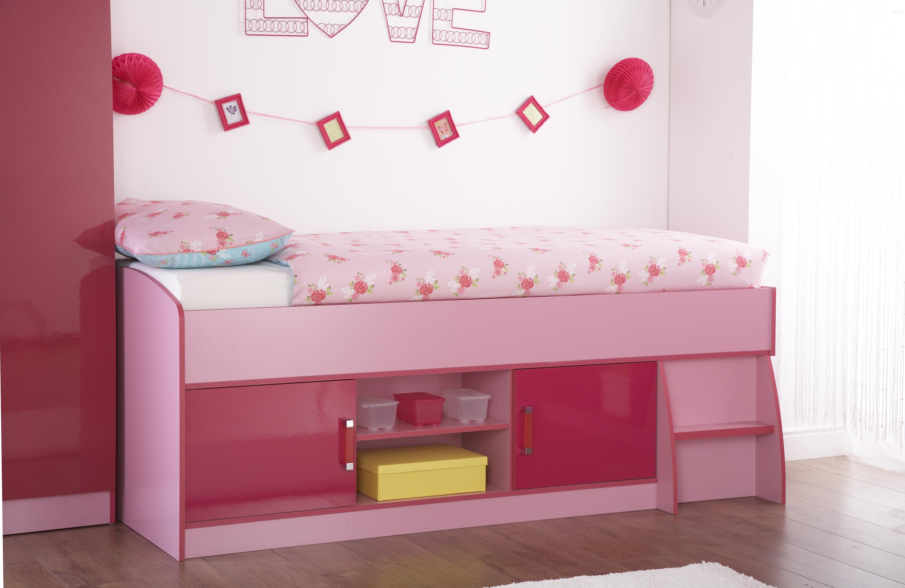 Childrens Girls Caspian Pink Gloss Two Tone Cabin ...