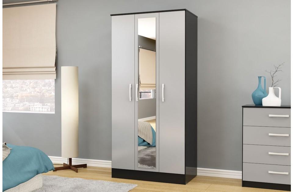 Lynx Black Grey 3 Door Mirrored Wardrobe By Birlea Quality Bedroom Furniture Ebay