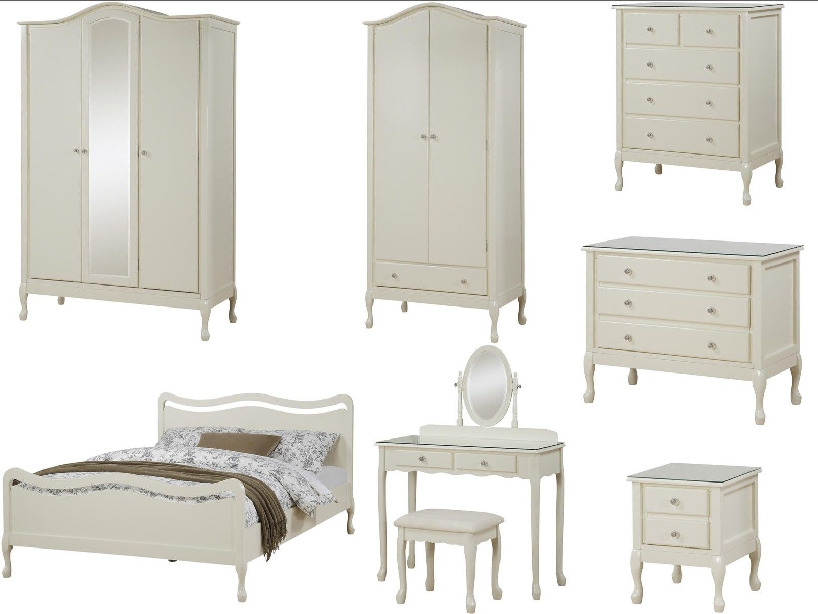 New Shabby Chic Ivory Bedroom Furniture Wardrobe Drawers Bed Dressing Ta