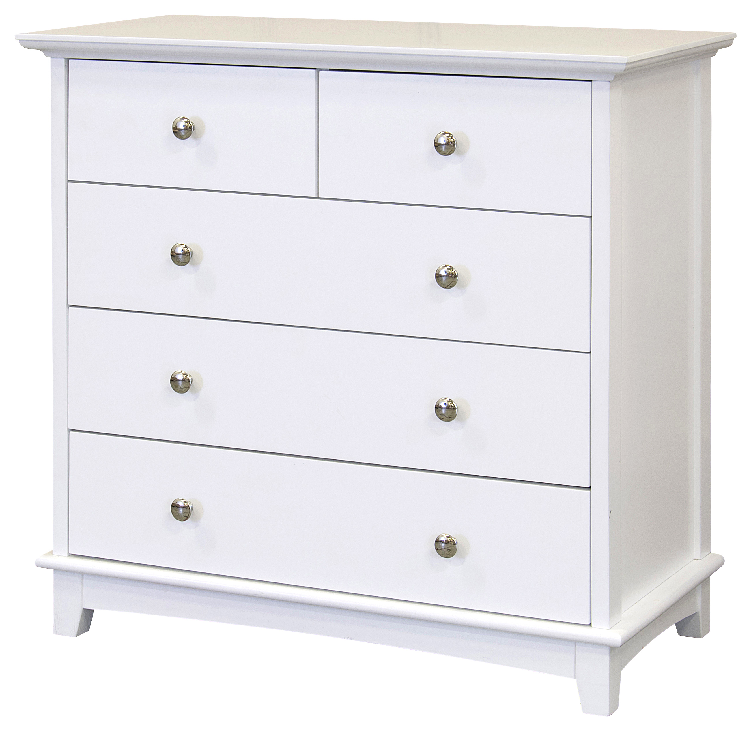 Toulouse 5 drawer bedroom chest 3 2 white painted solid wood ebay for White bedroom chest of drawers
