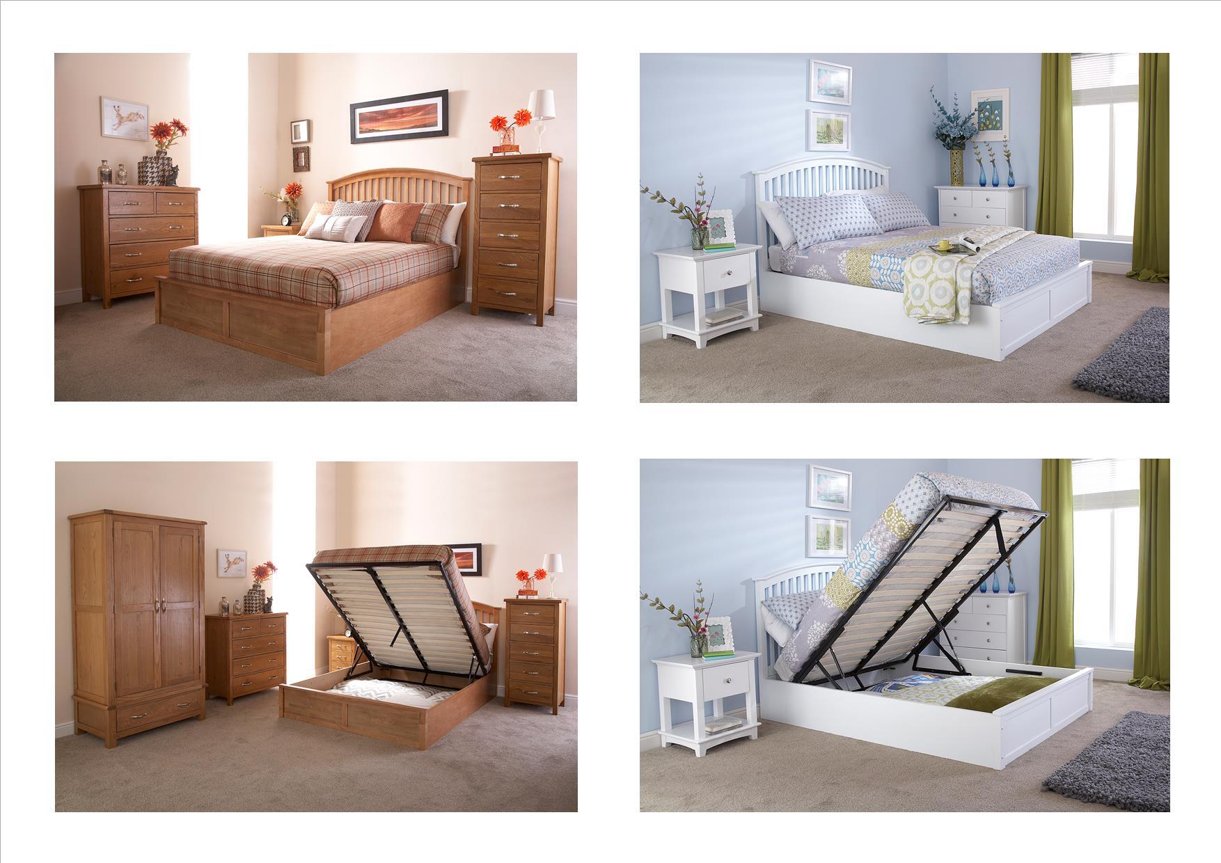 Madrid Wooden Ottoman Storage Bed Oak White 4ft6