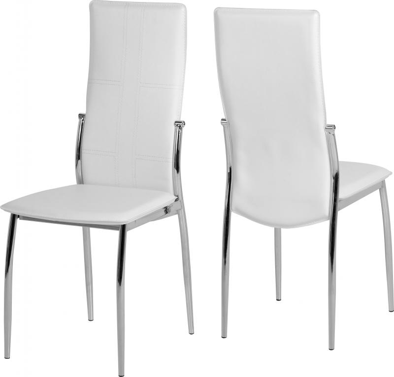 Pair of modern dining chairs white faux leather chrome for White leather and chrome dining chairs