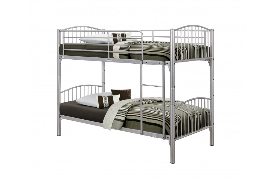 Birlea corfu metal bunk bed with detachable bunks silver for Detachable bunk beds