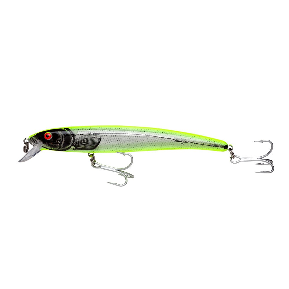 Bomber magnum long 17a 17 a floating diving striper surf for Chartreuse fishing lures