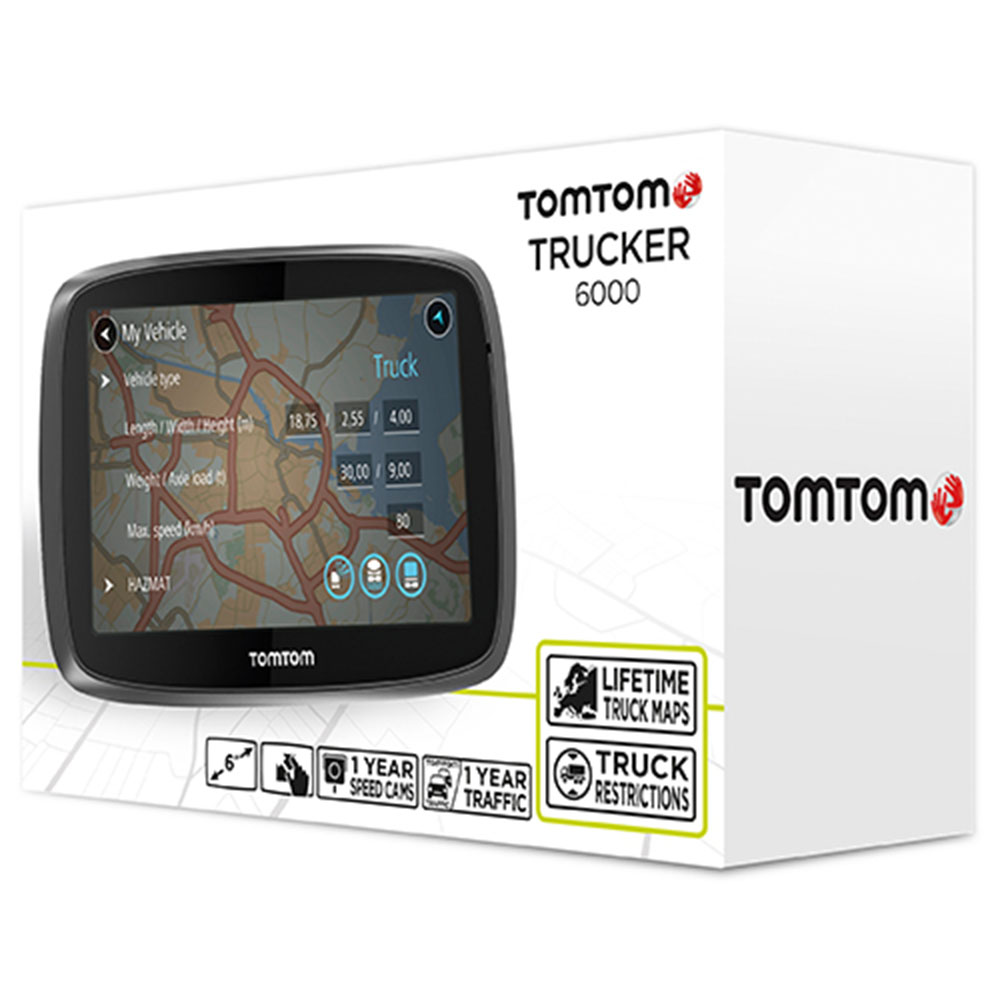 tomtom trucker 6000 gps truck sat nav free lifetime maps 1 year live traffic. Black Bedroom Furniture Sets. Home Design Ideas