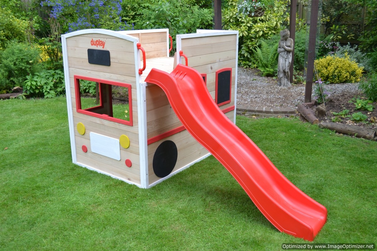 Activkids bus drivers wooden playhouse with long slide and for Free playhouse plans with slide