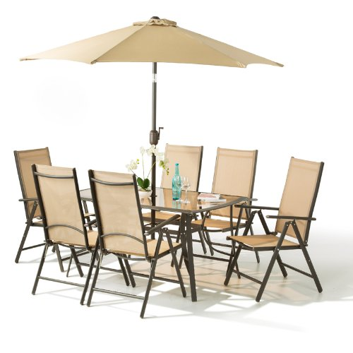 santorini garden patio furniture set 6 seater 100 aluminium 8