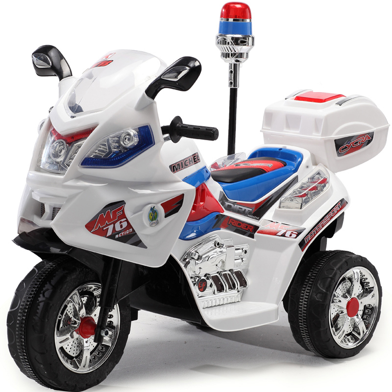 Duplay 6v Kids Electric Police Bike - White | eBay