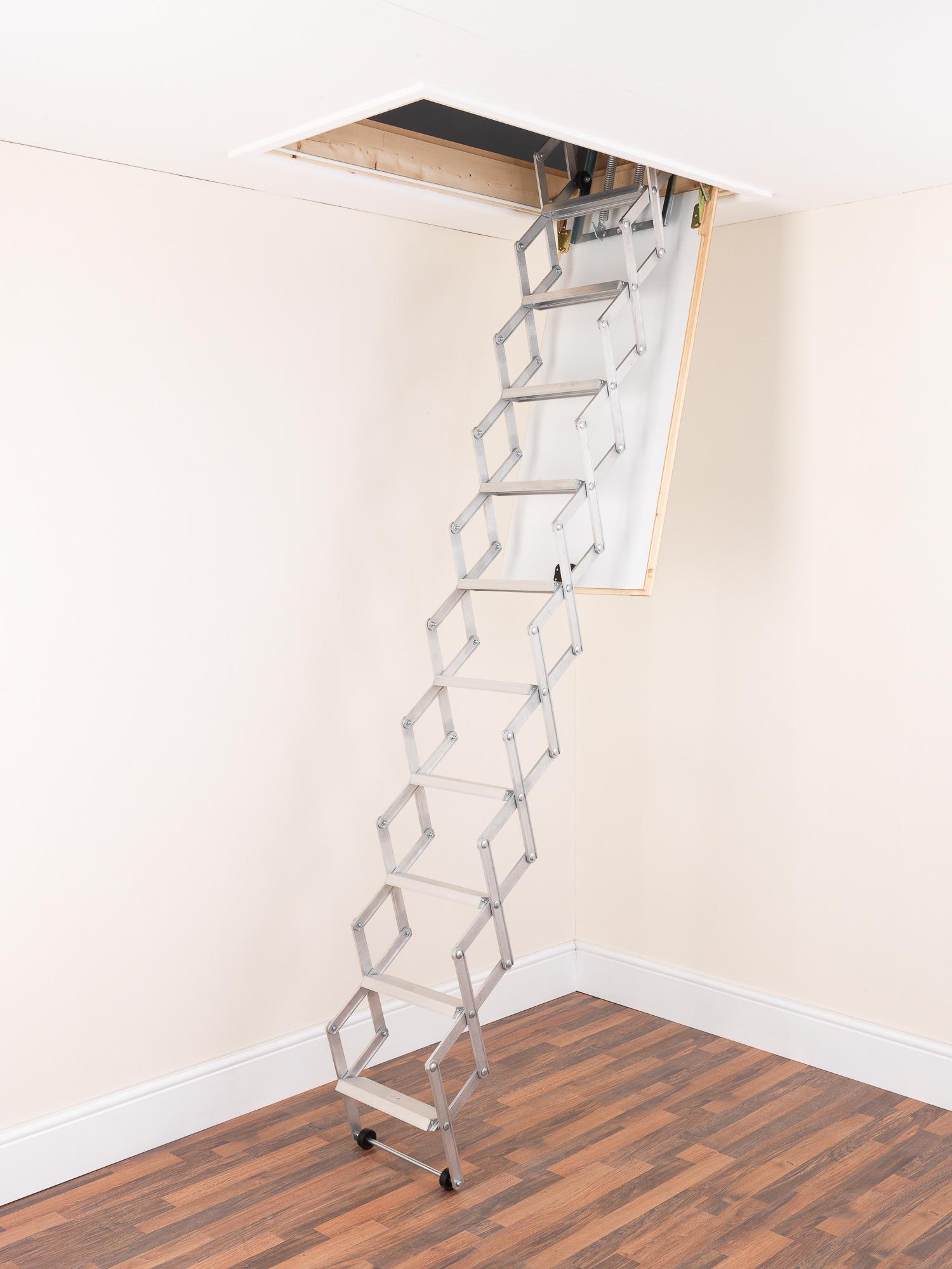 alufix aluminium concertina loft ladder 3 sizes for. Black Bedroom Furniture Sets. Home Design Ideas