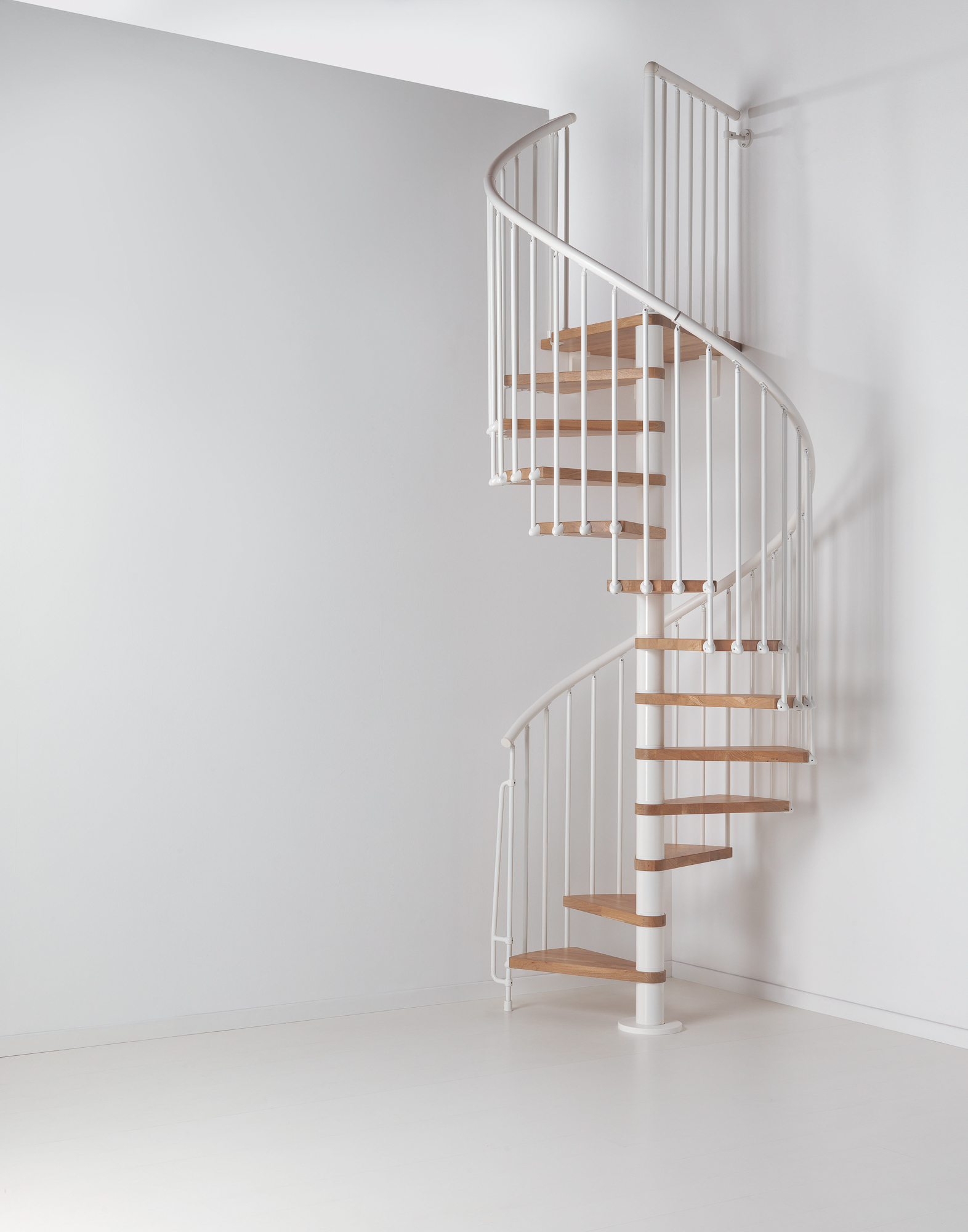 Arke Fontanot Oak 70 Spiral Staircase In White With Light