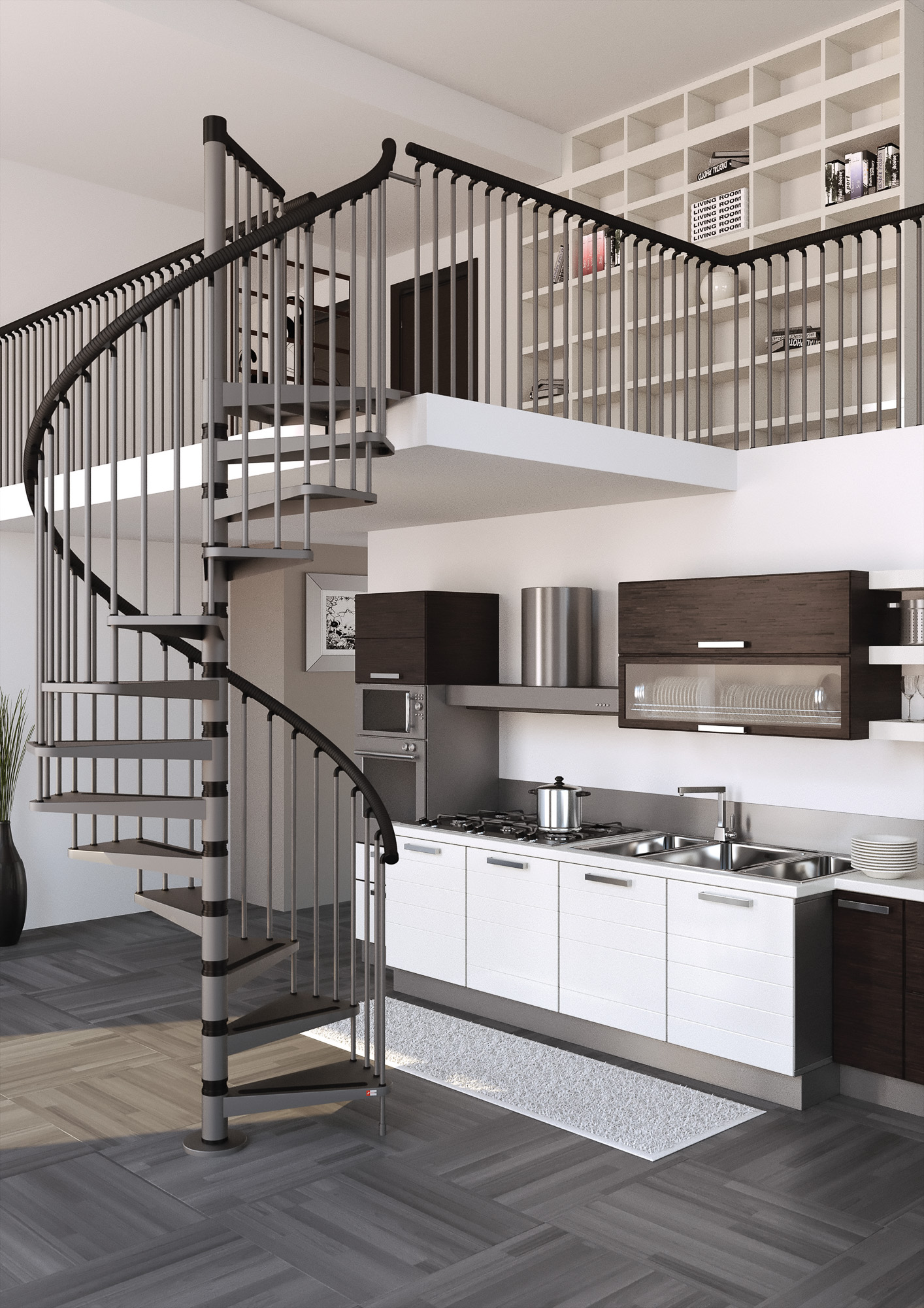 misterstep gamia metal spiral staircase diy stair kit 3. Black Bedroom Furniture Sets. Home Design Ideas