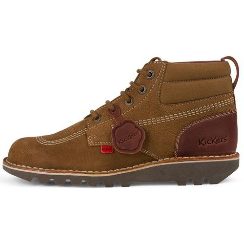 Kickers Classic Kick Hi Mash Up Mens Boots Brown Leather Ankle Boots Size 6.5-11
