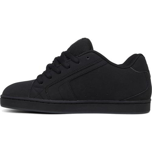 DC Net Black Grey Mens Leather Skate Shoes Trainers Size 7-15