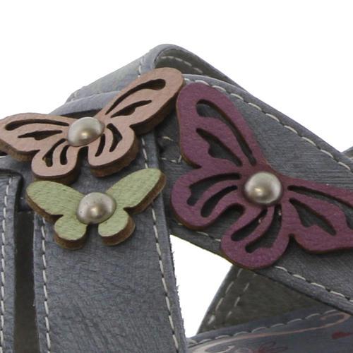 Mustang Facile Fermeture Femme Mesdames papillon Sandales Bleu Taille UK 4-8