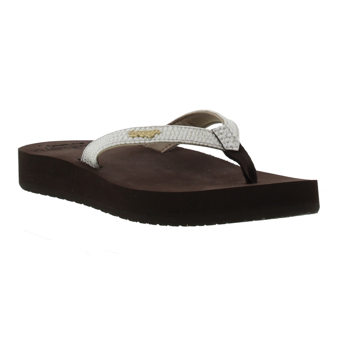 New Womens Reef Fanning Lux Brown Coral Toe Post Sandals Flip Flops Shu Size | EBay