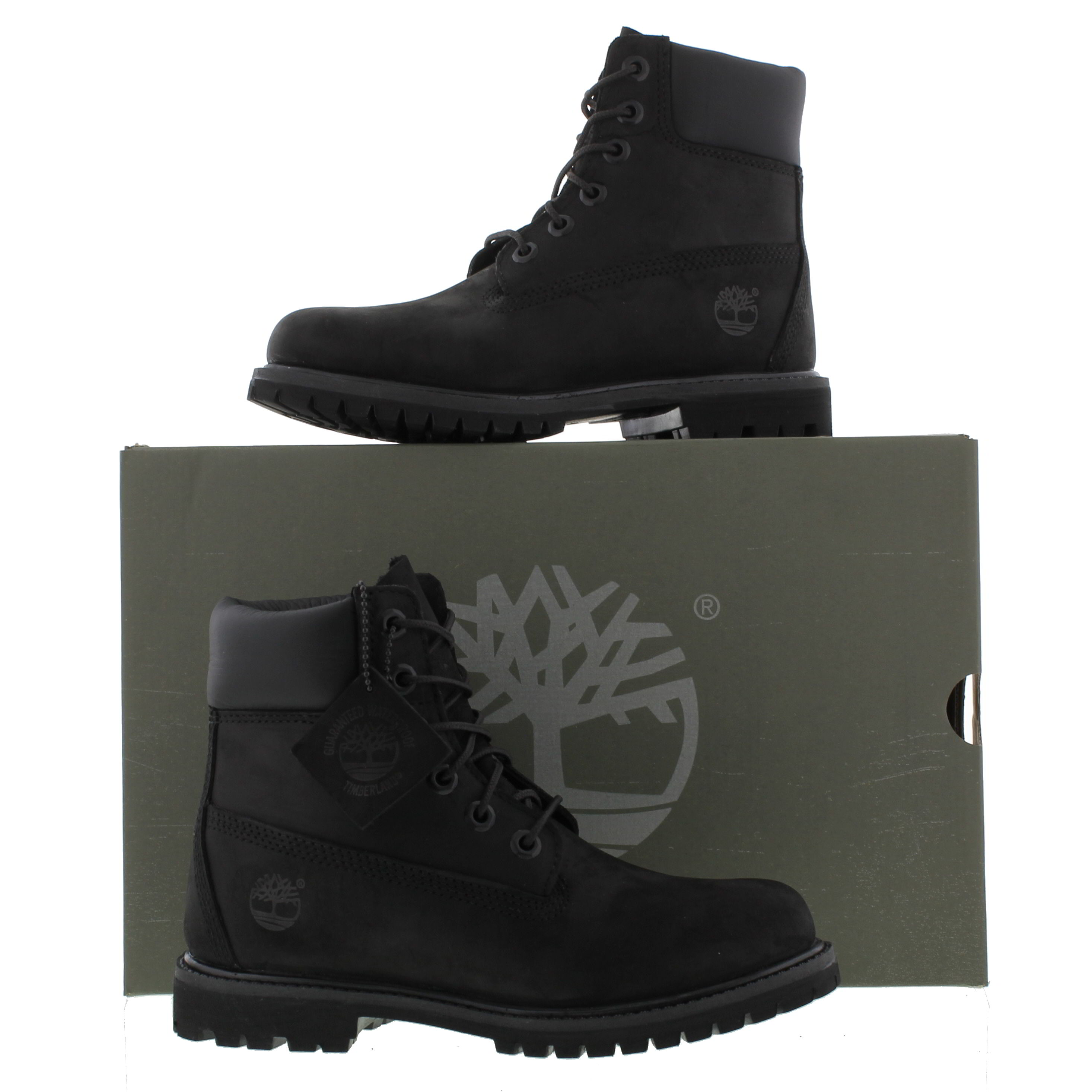 Popular Timberland Womens Black Glancy 6 Inch Boots 8432A | TOWER London