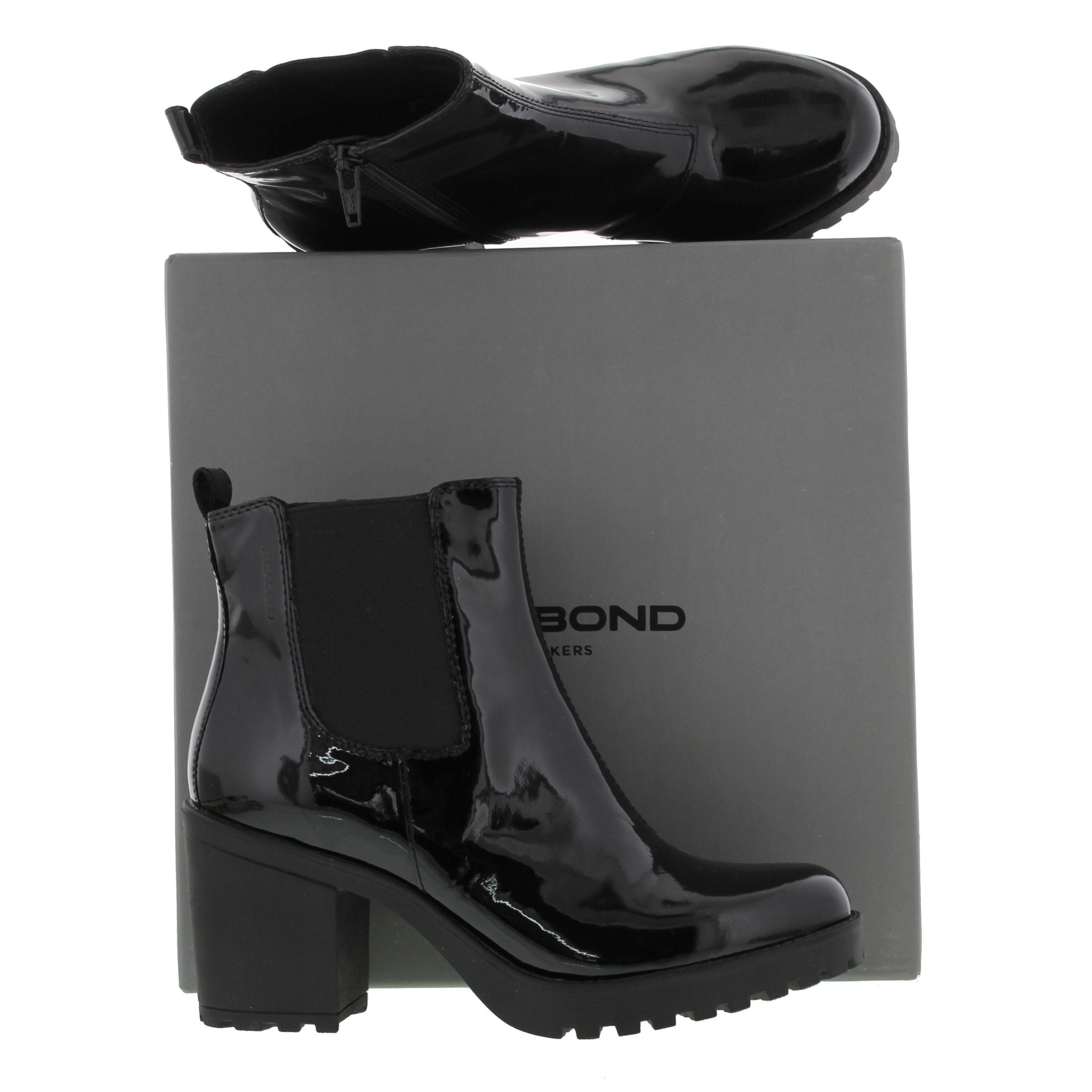 Vagabond Grace Womens Black Shiny Patent Leather Chelsea