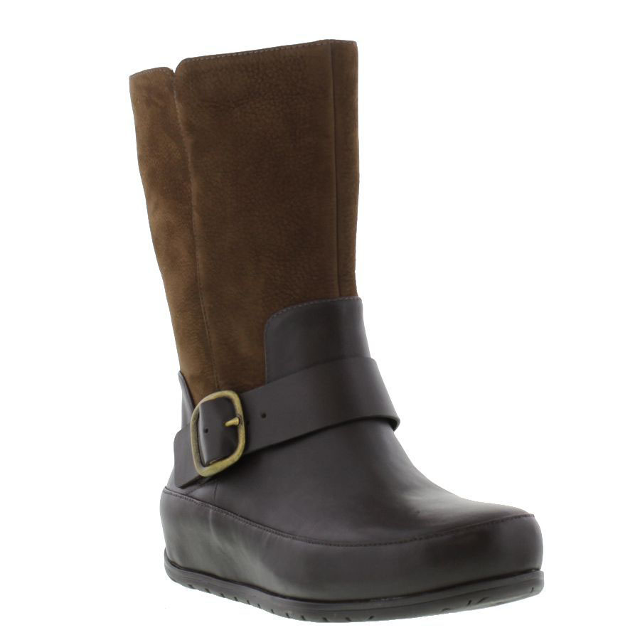 fitflop ff2 due boot womens leather brown pull on boots
