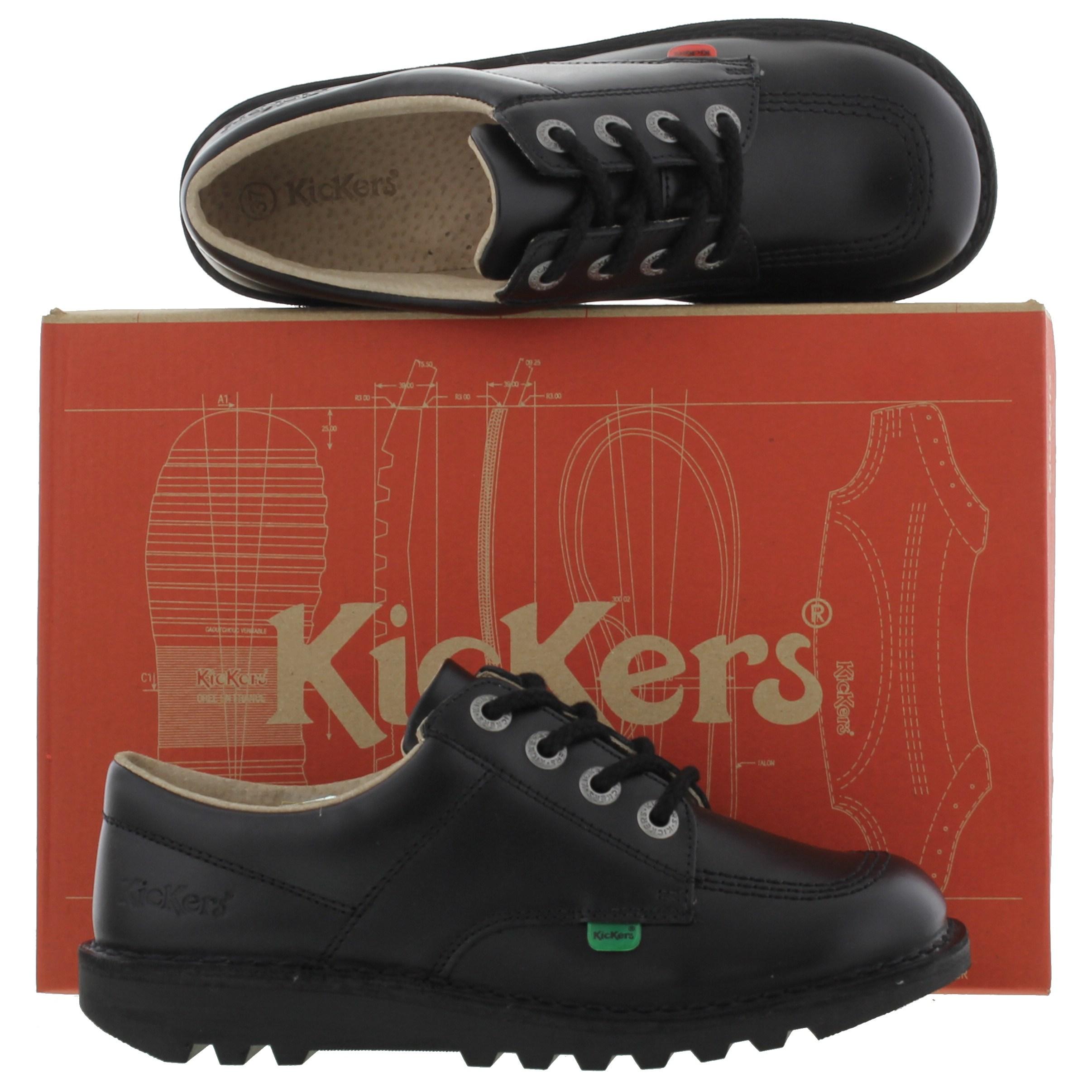 Kickers Kick Lo Original Youth Boys Kids Black Leather ...