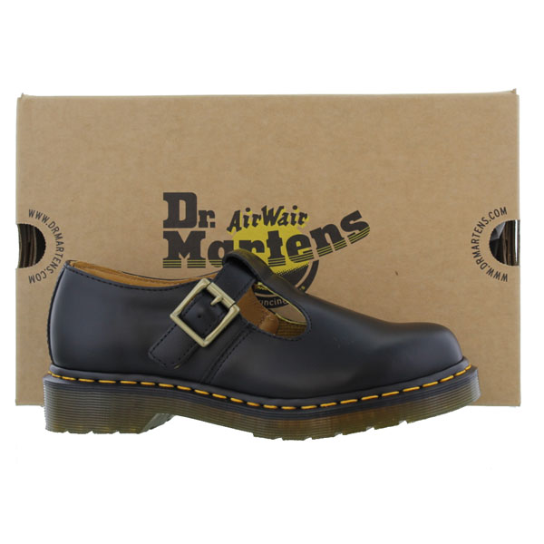 dr martens polley womens black leather t bar school work shoes size 4 9 ebay. Black Bedroom Furniture Sets. Home Design Ideas