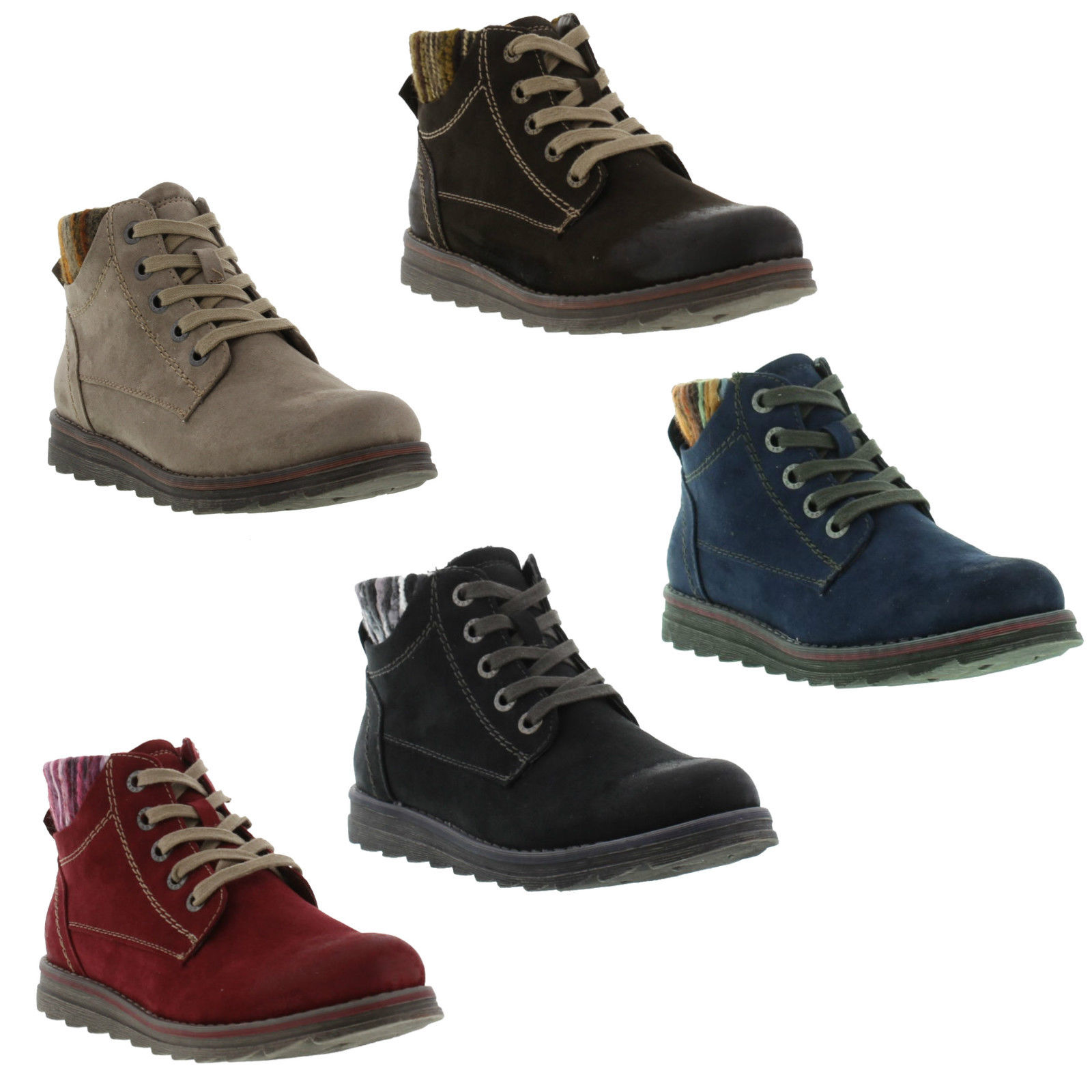 marco tozzi 25208 womens lace up blue red vegan ankle chukka boots size 8 ebay. Black Bedroom Furniture Sets. Home Design Ideas