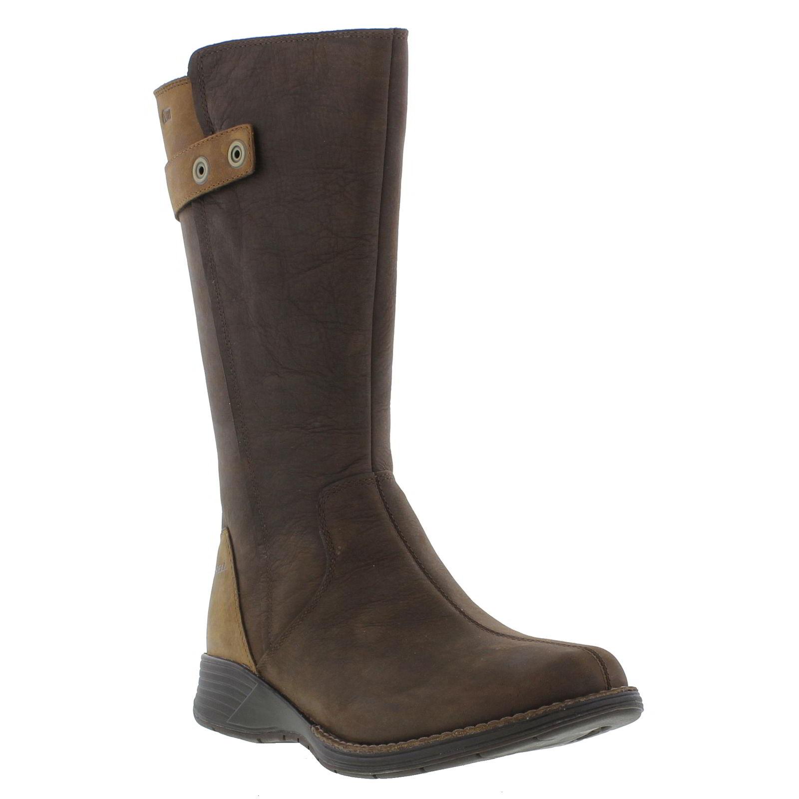 merrell travvy womens waterproof black brown leather