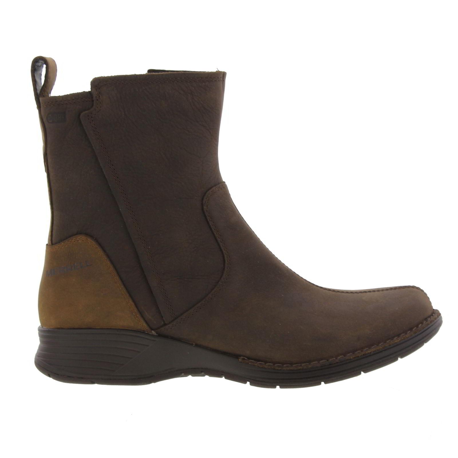 merrell travvy womens waterproof zip up brown