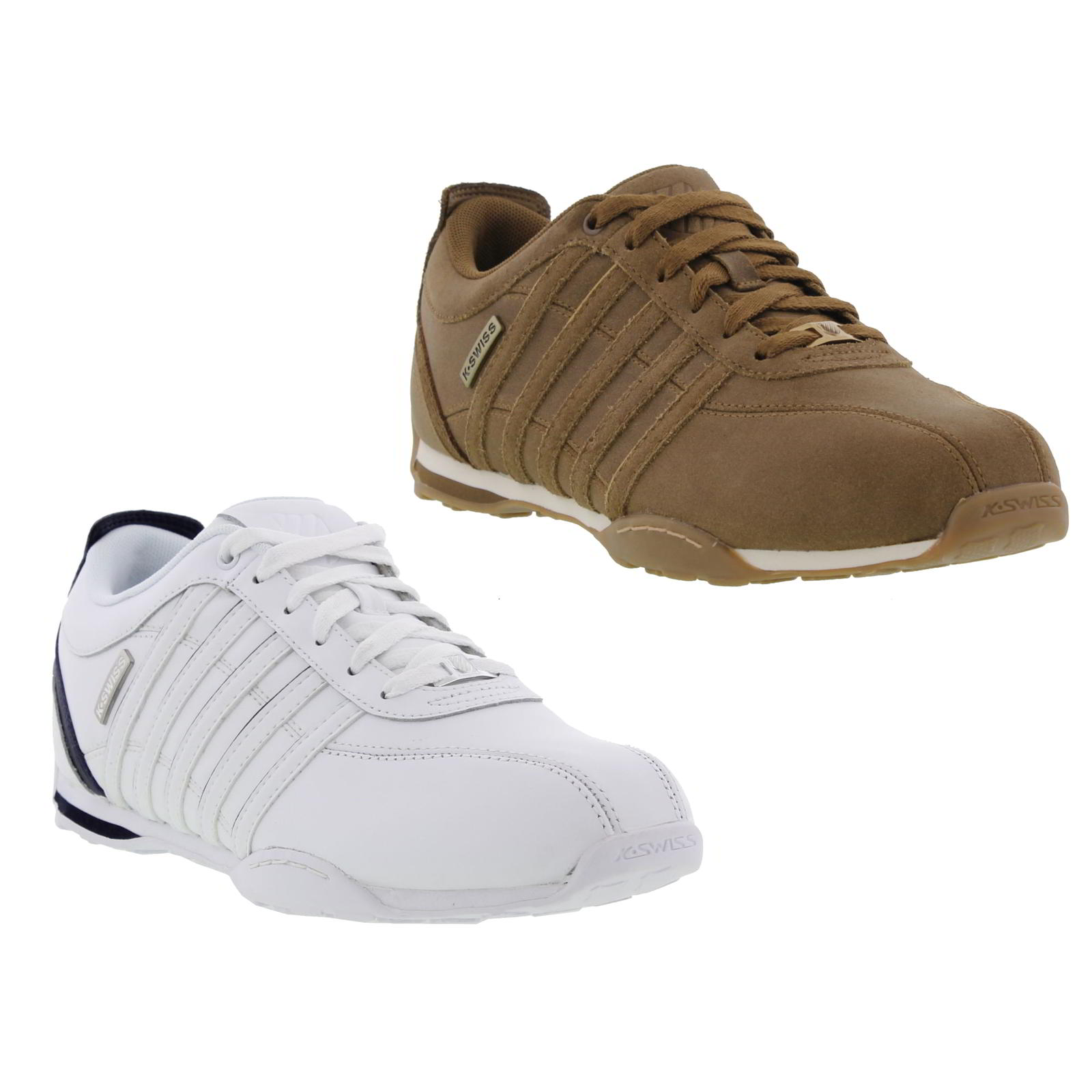 k swiss arvee 1 5 mens brown white leather lace up trainers size uk 8 10 ebay. Black Bedroom Furniture Sets. Home Design Ideas