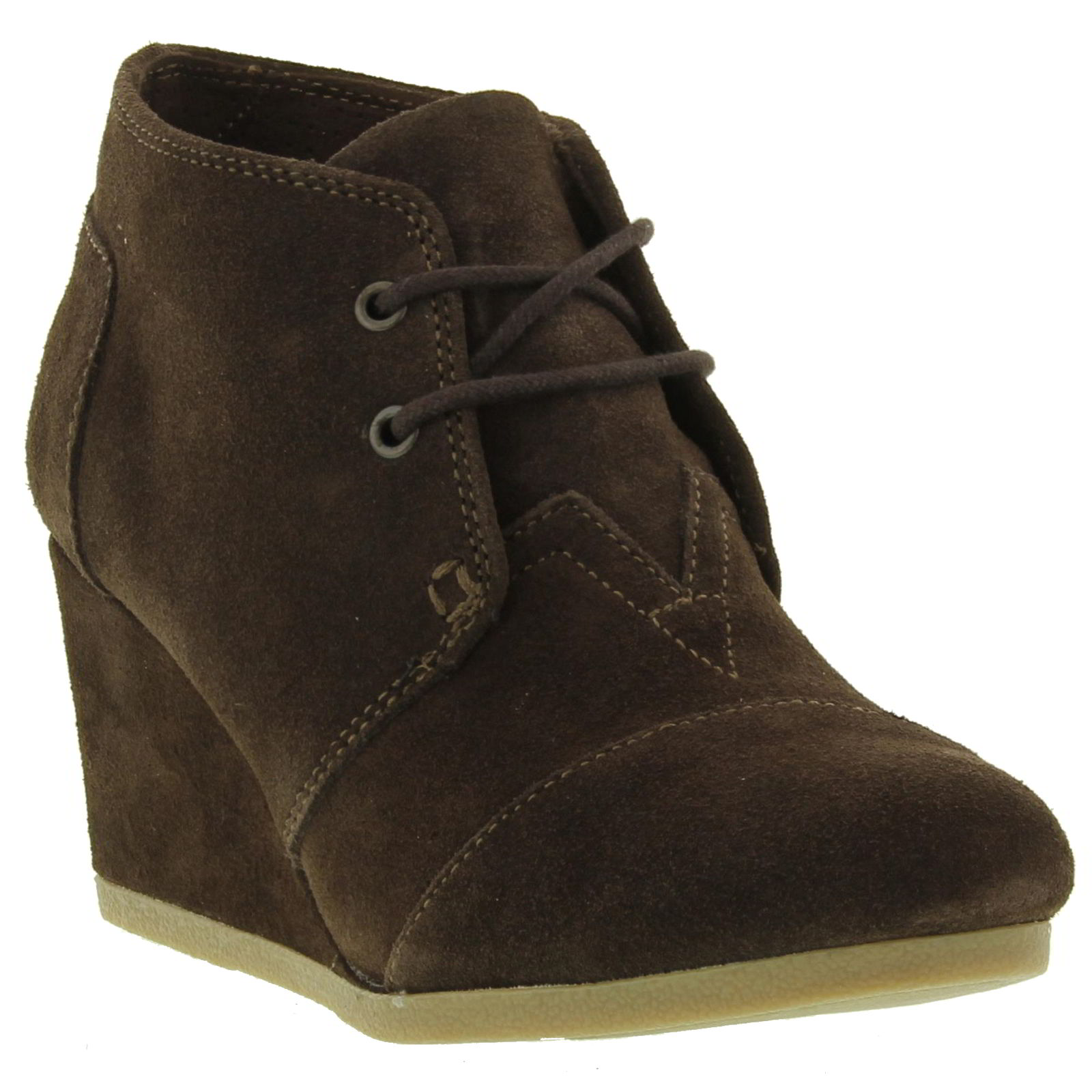 toms desert wedge womens lace up brown suede ankle boots
