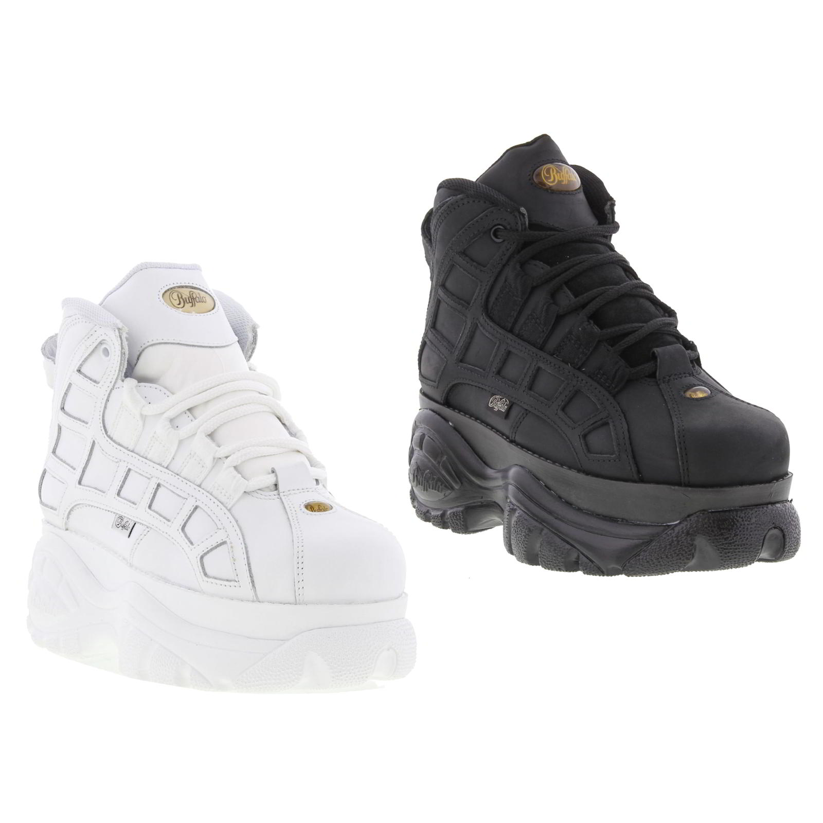 buffalo 2003 14 womens white leather platform trainers
