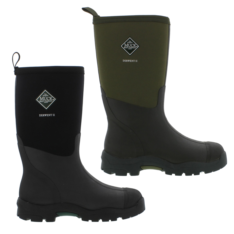 Muck Boots Derwent II Mens Neoprene Wellies Black Green Wellington ...