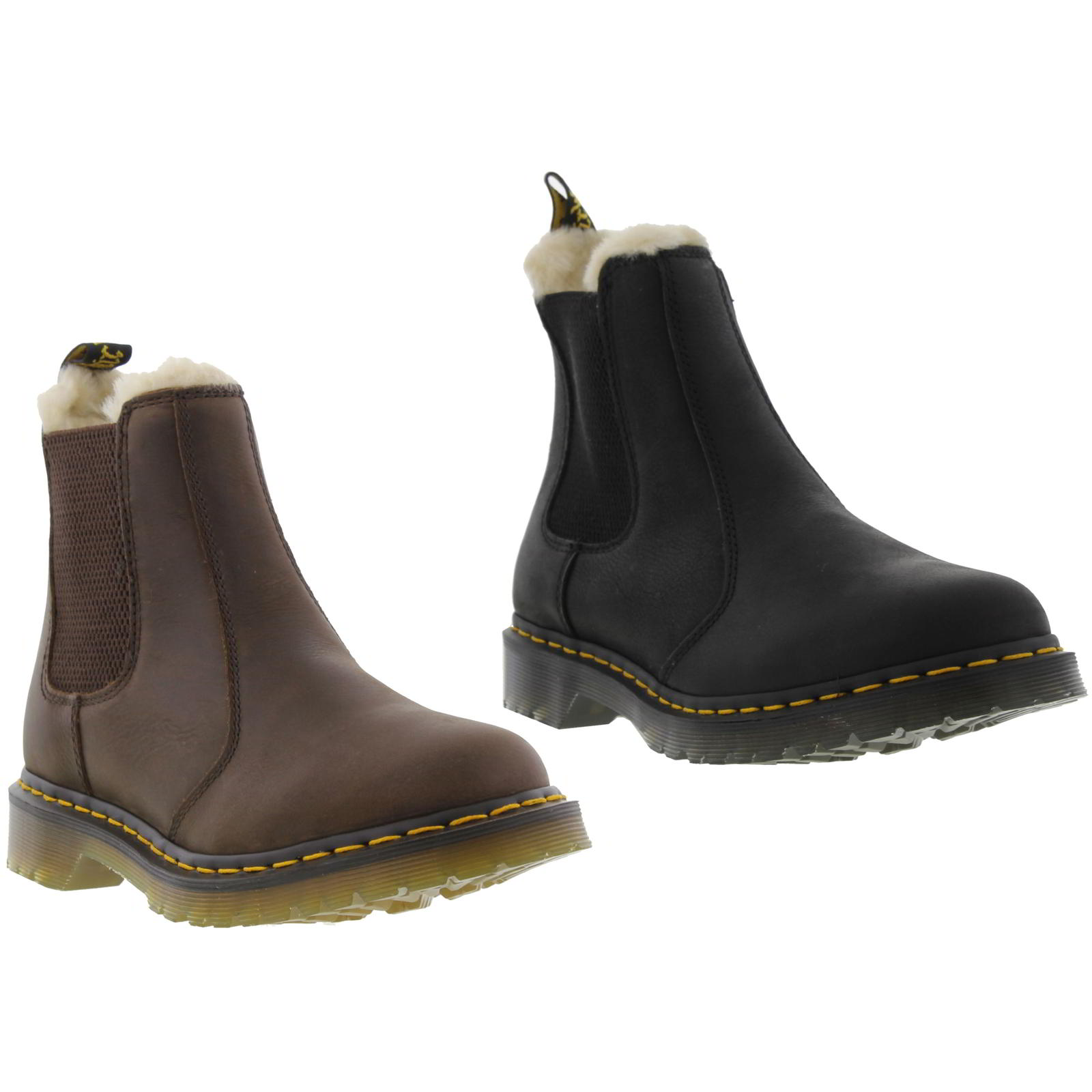 dr martens leonore womens brown leather faux fur lined boots size 4 8. Black Bedroom Furniture Sets. Home Design Ideas