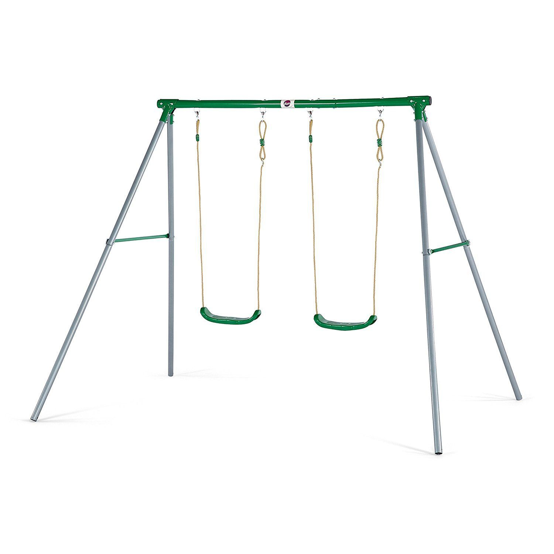 Plum sedna ii double metal childrens outdoor swing set ebay for Swing set supports
