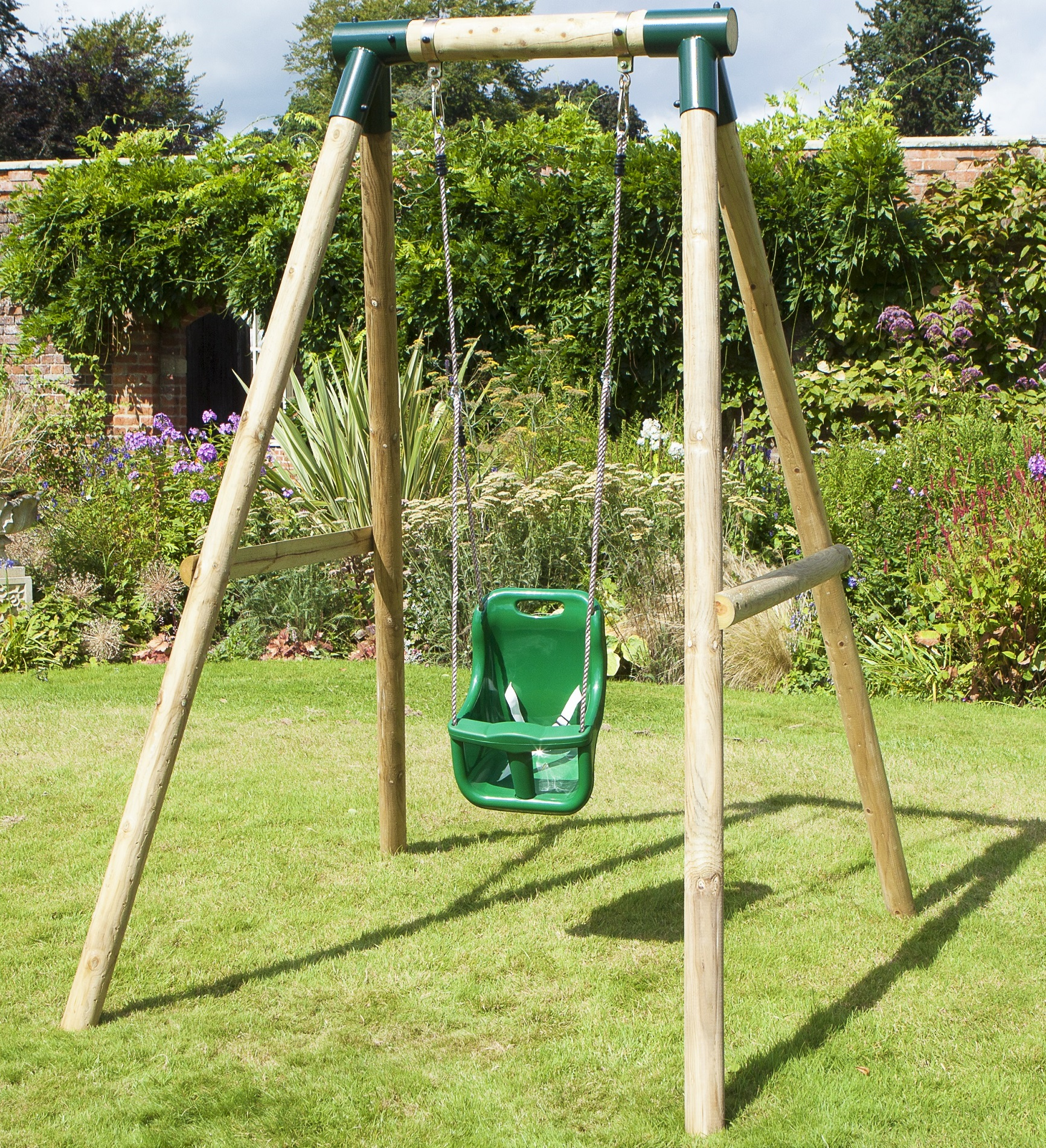 Rebo pluto baby wooden garden swing set baby swing ebay for Garden swing seat plans
