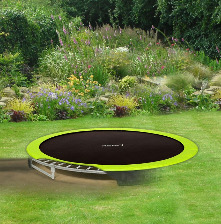 rebo in ground base jump inground trampoline 4 sizes ebay. Black Bedroom Furniture Sets. Home Design Ideas