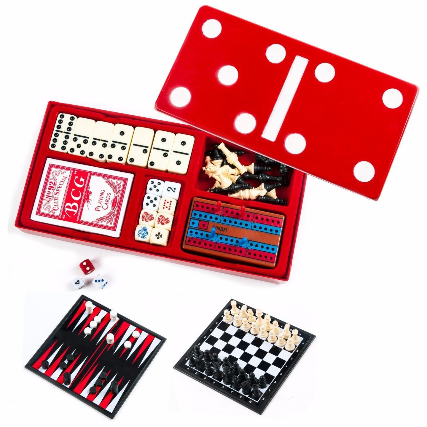 Crib boards for sale uk - 7 In 1 Board Game Set Travel Dominoes Poker Chips Cards Chess Backgammon