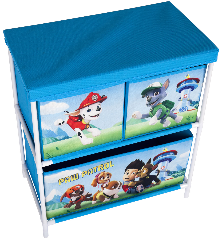 Blue Storage Kids Toy Box Playroom Furniture Bedroom Girls: Paw Patrol Kids Toy Storage Unit 2 Tier 3 Drawer Organiser